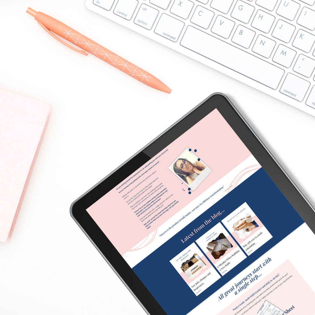 lifestyle planning geek web mockup on a tablet